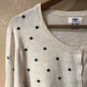 OLD NAVY XXL Cream Black Polka Dot Cardigan